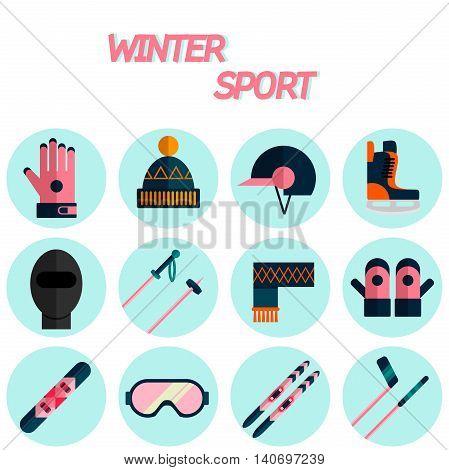 Winter sport flat icon set . Ski, sport, extreme sports, winter games, sport icons. Vector illustration EPS 10