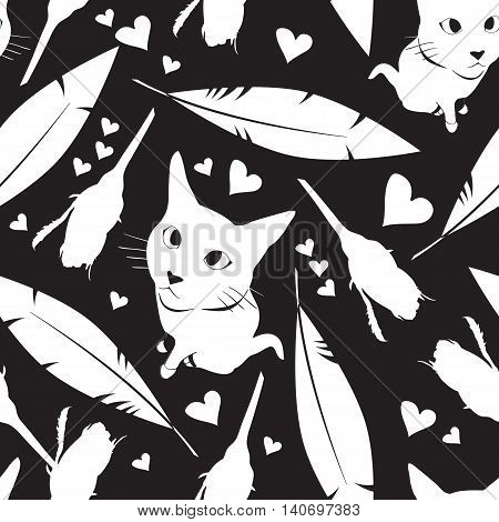 Seamless pattern with cats, flowers and hearts. Stock vector illustration.