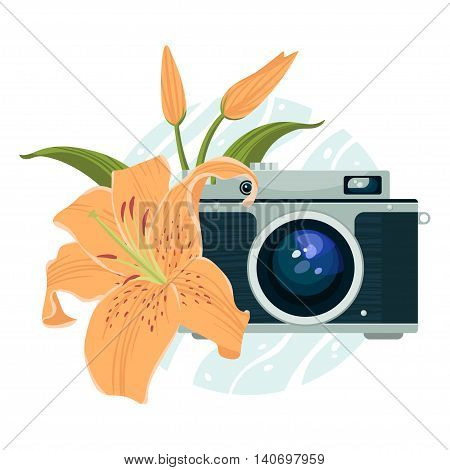 Vector illustration of vintage camera and lily.