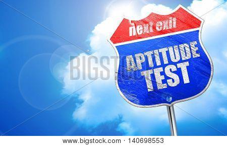 aptitude test, 3D rendering, blue street sign