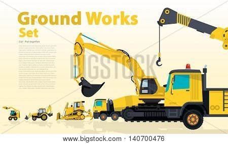 Yellow set of construction machinery machines vehicles, excavator. Construction equipment for building. Truck, Digger, Crane, Bagger, Mix, master vector illustration, nice ground works typography page poster