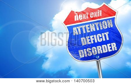 Attention deficit disorder, 3D rendering, blue street sign