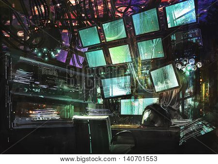 sci fi creative workspace, digital painting, illustration