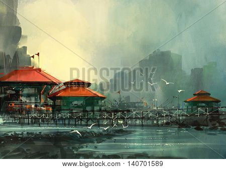 landscape of beautiful harbor, fishing village, digital painting