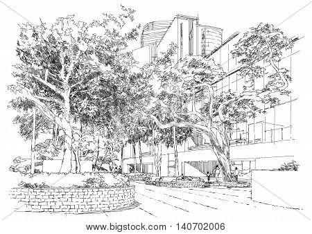 sketch of city landscape, bench in the park under trees