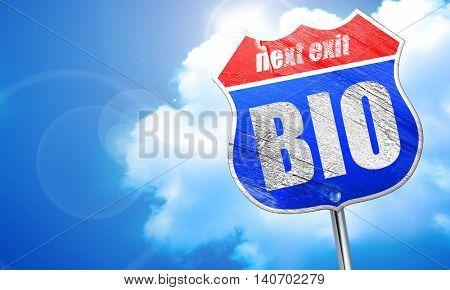bio, 3D rendering, blue street sign