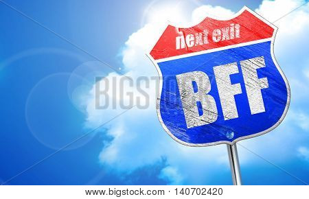bff, 3D rendering, blue street sign