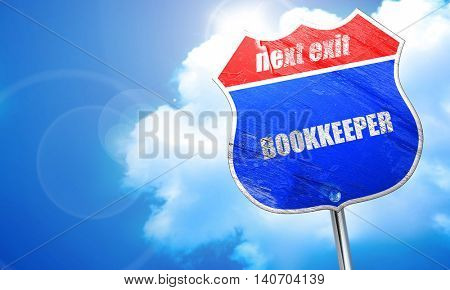 bookkeeper, 3D rendering, blue street sign