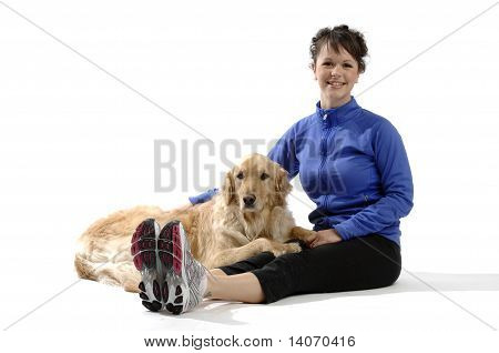 Young Pretty Woman Plays With Her Dog