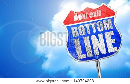 bottom line, 3D rendering, blue street sign