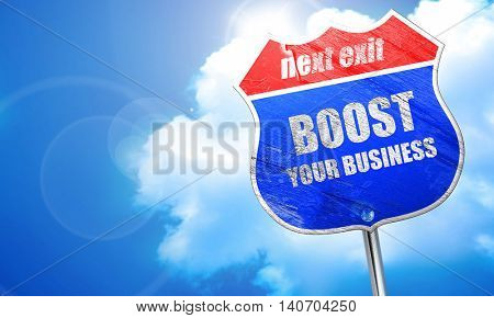 boost your business, 3D rendering, blue street sign