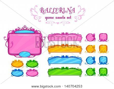 Beautiful girlish ui assets, vector design elements for web or game development. Isolated on white.