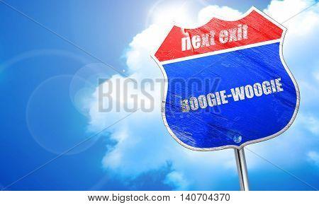boogie woogie, 3D rendering, blue street sign