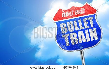 bullet train, 3D rendering, blue street sign