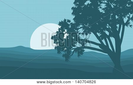 Silhouette of single tree and moon illustration