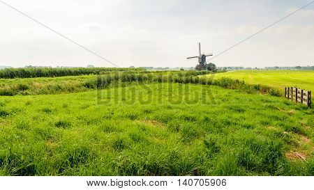 Typical Dutch polder landscape in the summer with still some morning haze. The grass has different shades of green. In the background is a historic hollow post mill which regulated the water level in the polder.