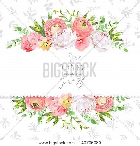 Bright ranunculus peony rose carnation green plants horizontal vector design frame. Delicate grey floral texture background. All elements are isolated and editable.