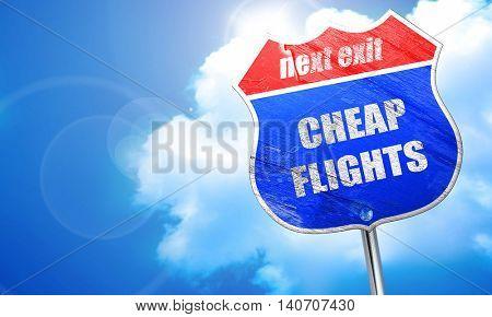 cheap flight, 3D rendering, blue street sign