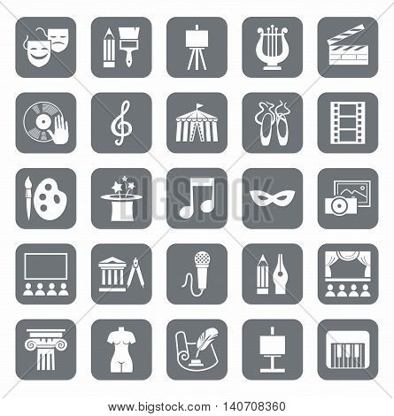 Culture and art, icons, gray, monochrome.  Vector icons with pictures of objects and subjects of culture and art. White figures on a gray background.