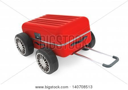 Red Modern Suitcase with Tires Wheels on a white background. 3d Rendering