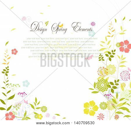 wedding card with floral on white background