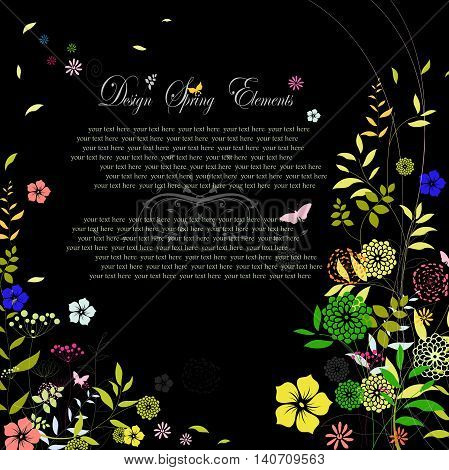 wedding card with floral on black background