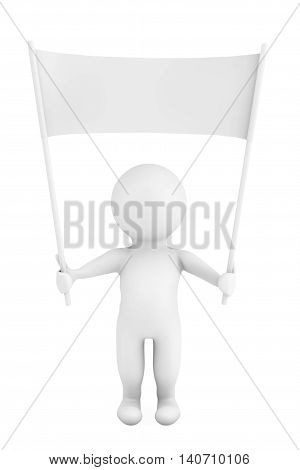 3d Person with Blank Placard Banner in Hands on a white background. 3d Rendering