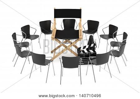 Office Chairs Around Cinema Director Chair Movie Clapper and Megaphone on a white background. 3d Rendering
