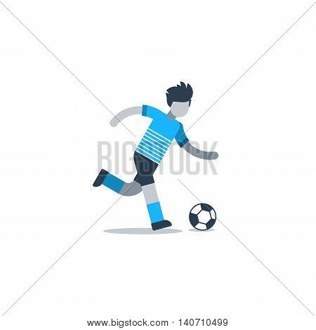 Soccer player running, football defender, forward, midfielder. Flat design vector illustration, isolated on white
