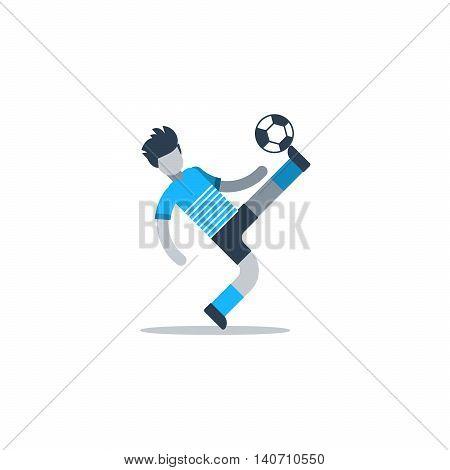 Soccer player kicking ball, football defender, forward, midfielder. Flat design vector illustration, isolated on white