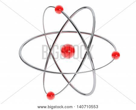 Chrome Atom Molecule Icon on a white background. 3d Rendering