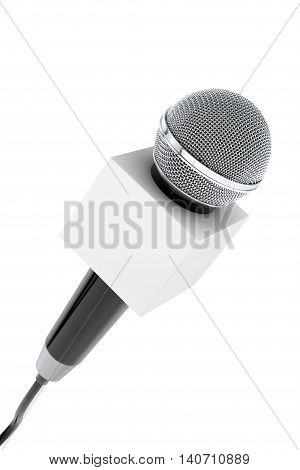 Microphone with Blank Box on a white background. 3d Rendering