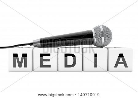 Microphone over Media Cube Sign on a white background. 3d Rendering