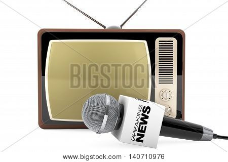Microphone with Breaking News Box Sign and Retro Old TV on a white background. 3d Rendering
