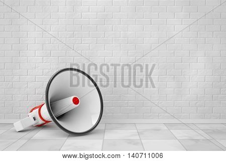 Retro Megaphone in front of Brick Wall. 3d Rendering