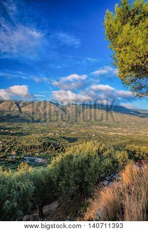 Green Zakynthos Island With Mountain In Greece
