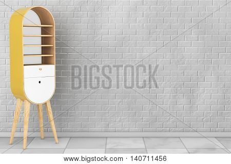 Vintage Wooden Kitchen Cabinet in front of brick wall. 3d Rendering
