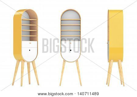 Vintage Wooden Kitchen Cabinets on a white background. 3d Rendering