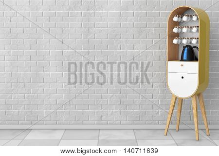 Vintage Wooden Kitchen Cabinet with Kettle and Cups in front of brick wall. 3d Rendering