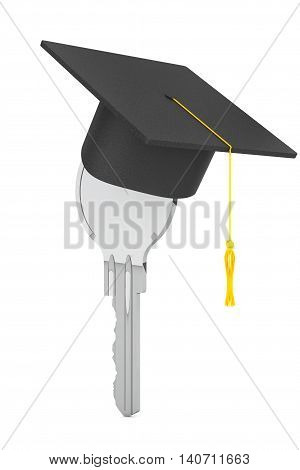 Education Concept. Key with Graduation Hat on a white background. 3d Rendering