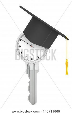 Education Concept. Modern Clock as Key with Graduation Hat on a white background. 3d Rendering
