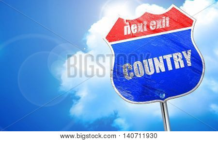 country music, 3D rendering, blue street sign