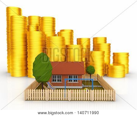 Invest in Real Estate concept. Small House with Stacks of Coins on a white background. 3d Rendering