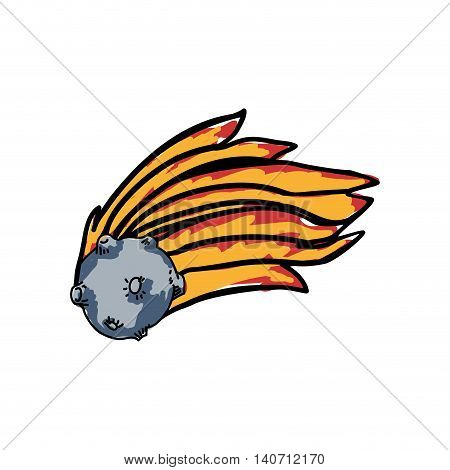 Science and space concept represented by asteroid with flame icon. Isolated and sketch illustration