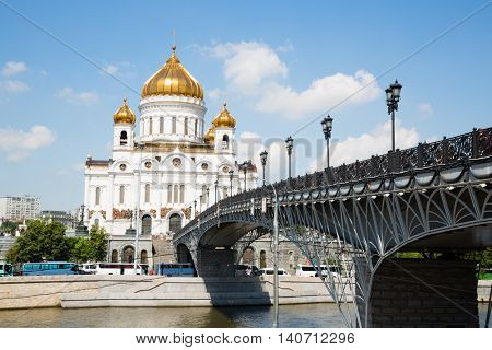 Majestic Christ the Savior Cathedral on the banks of the Moskva River in Moscow.