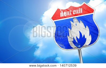 Flammable hazard sign, 3D rendering, blue street sign