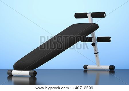 Exercise bench. Gym Equipment on the blue background. 3d Rendering