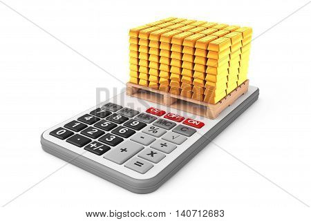 Golden Bars over Calculator on a white background. 3d Rendering
