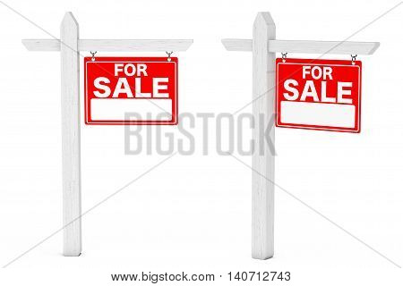 For Sale Real Estate Signs on a white background. 3d Rendering