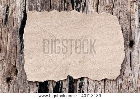 old brown paper of rectangle on wood background and copy space to input text.